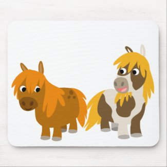 Two Cute Cartoon Ponies mousepad mousepad