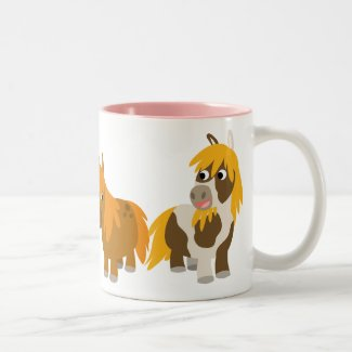 Two Cute Cartoon Ponies Mug mug