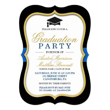 Two Grads - Gold Bracket Frame Graduation Party Invitation