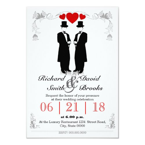 Two hats men in tuxedo with - Most gay wedding Invitation