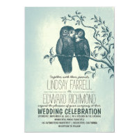 two owls in love & tree branch wedding invitations
