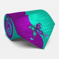 Two Tone Purple and Turquoise Teal Butterfly Tie | Zazzle