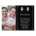 Two Tuxedos with Red Rose Gay Wedding Engagement Invitation