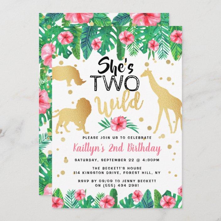 two wild girls second birthday party invitations zazzle com