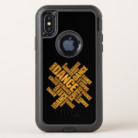 Typographic Dance (Rust) OtterBox Defender iPhone X Case