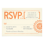 Typographic Ornamental Orange Wedding Reply Announcement