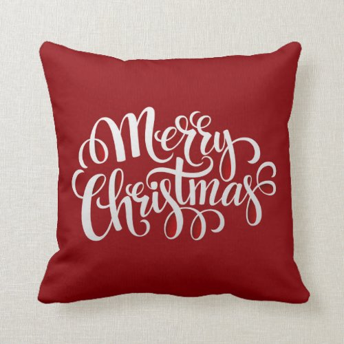 Typography Merry Christmas AND New Year Throw Pillow