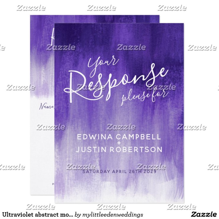 Ultraviolet abstract modern art wedding reply RSVP Card