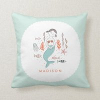 Under the Sea Little Mermaid Personalized Pillow | Zazzle