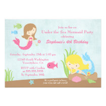 Under the sea mermaid girl's birthday party invite