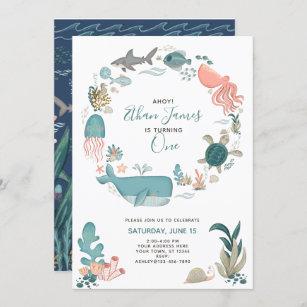 ocean 1st birthday invitations zazzle