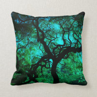 Under The Tree in Turquoise Throw Pillow