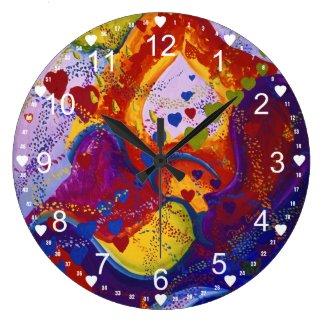 Underground – Crimson & Iris Hearts Abstract Round Wall Clocks
