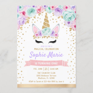 unicorn birthday invitations zazzle