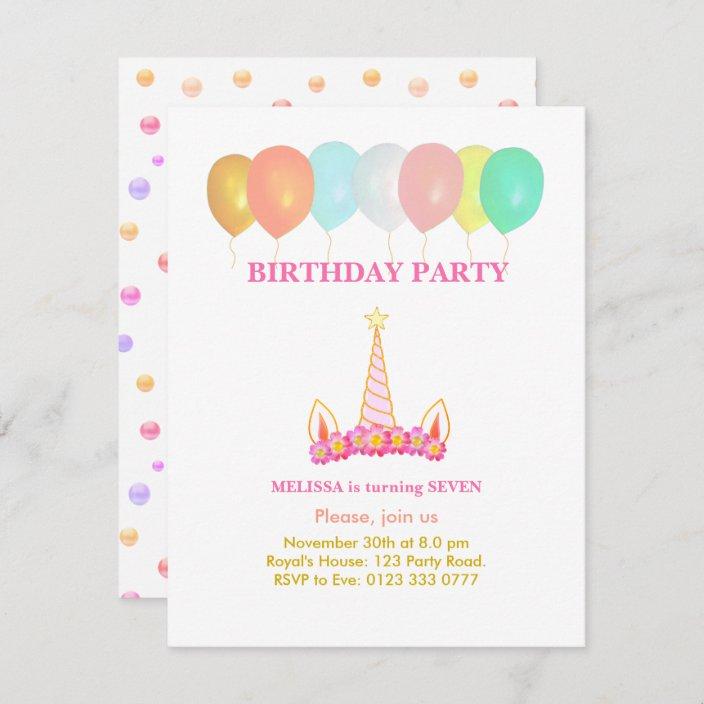 unicorn 7th birthday party invitation zazzle com