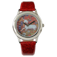 UNICORN AND MEDIEVAL FANTASY FLOWERS,FLORAL MOTIFS WRIST WATCH