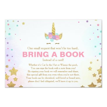 Unicorn Baby Shower Bring a book Pink Gold Girl Invitation
