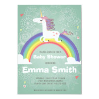 Unicorn Baby Shower Invitation - GREEN