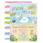 Unicorn Beach Party Invitation Unicorn Pool Float