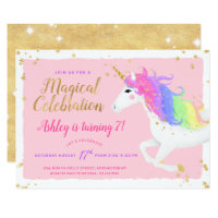 Unicorn Birthday Invitation | Magical Pink & Gold