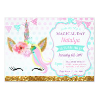 Unicorn Birthday Invitation Sparkle