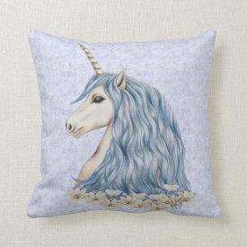 Unicorn Blue Hair Throw Pillows