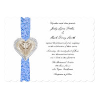 Unicorn Blue Lace Wedding Invitation