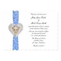 Unicorn Blue Lace Wedding Invitation