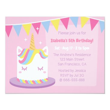 Unicorn Cake Bunting Flags Girls Birthday Party Card