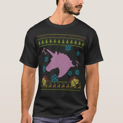 Unicorn Christmas Ugly Sweater Design Shirt