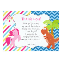 Unicorn Dinosaur Thank You Card Note