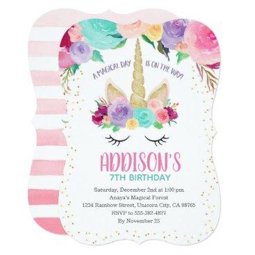Unicorn Floral Birthday Baby Shower Invitations