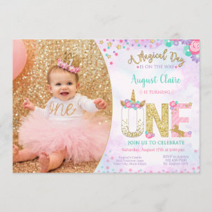 unicorn photo birthday invitations zazzle