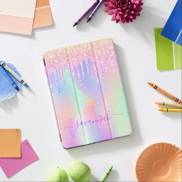 Unicorn glitter drips pink iridescent rose gold iPad air cover