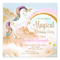 Unicorn Magical Unicorn Birthday Party Invitations