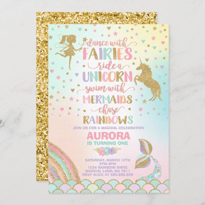 unicorn mermaid and fairy birthday invitation zazzle com