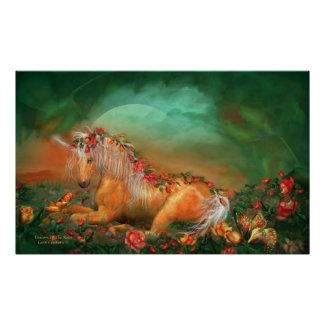 Unicorn Of The Roses Art Poster/Print