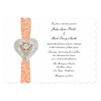 Unicorn Orange Lace Wedding Invitation