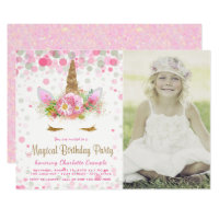 Unicorn Photo Unicorn Birthday Party Invitations