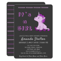 Unicorn Pink Baby Girl Shower Invitation Card