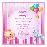 Sweet Unicorn, Princess & Balloons Birthday Party Invitation