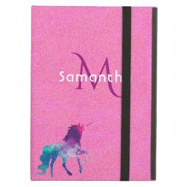 Unicorn  purple pink glitter monogram glam iPad air cover