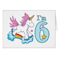 Unicorn Rainbow 6th Birthday Card