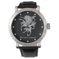 Unicorn rampant medieval heraldry wrist watch