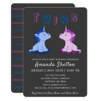 Unicorn Twins Baby Shower Invitation Card