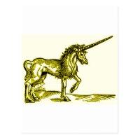 UNICORN vintage print c.1551 in gold Postcard