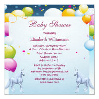 Unicorns & Balloons Girls Baby Shower Card
