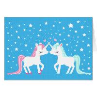 Unicorns in love blank card