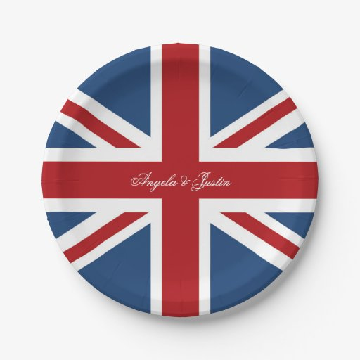 Union Jack Flag Wedding Paper Plate