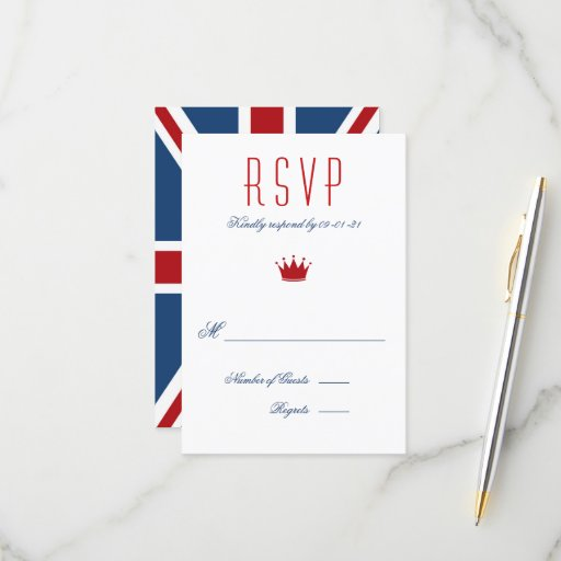 Union Jack Flag Wedding RSVP